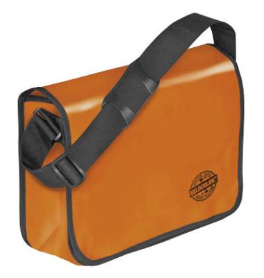 Umhängetasche für Briefordner, orange Überschlag mit Klettverschluss
