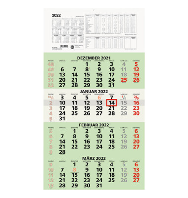 Viermonatskalender 959 4Monate/1Seite 330x635mm 2021 Recycling