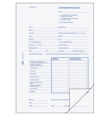 Lohnabrechnung A4 Minijobs 50 Blatt 29,7x21x0,56