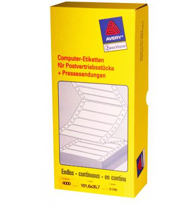Computeretiketten 5106 101,6 x 35,7 mm weiß 1-bahnig 4000 Stück