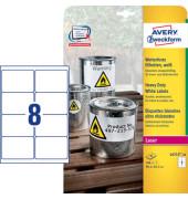 Wetterfeste Etiketten, 99,1x67,7 mm, weiß, 8 Etiketten/ Blatt, permanent.