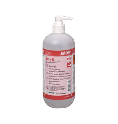 Handdesinfektionsmittel 7516460 DES E H5 Gel 500 ml Pumpflasche