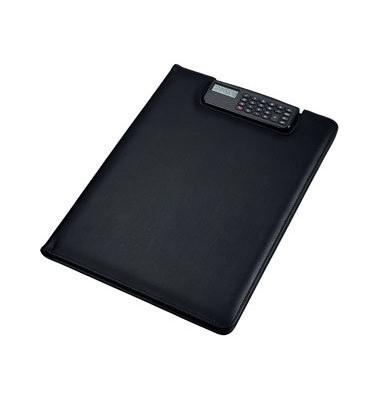 Klemmbrettmappe Brescia 31500 A4 schwarz 250x330mm Kunstleder mit Taschenrechner
