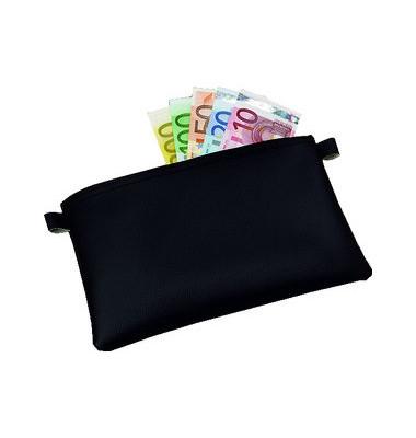Banktasche mit Reißverschluss schwarz 225x150mm Kunstleder