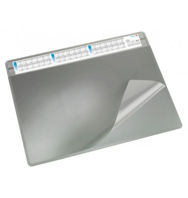 Schreibunterlage Durella mit Sichtfolie grau 50 x 65cm Kunststoff