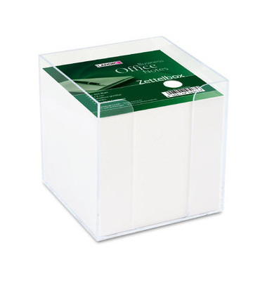 Zettelbox transp.gefüllt lose weiß 9x9cm 800 Bl