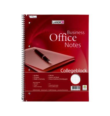 Collegeblock Office A4 kariert weiß gelocht 80 Blatt
