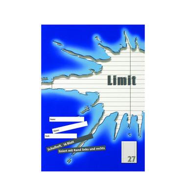 Schulheft A4 liniert weiß 27 beidseitiger Rand LIMIT TCF 16 Blatt