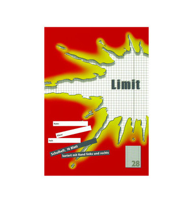 Schulheft Limit A4 Lineatur 28 kariert mit Doppelrand weiß 16 Blatt