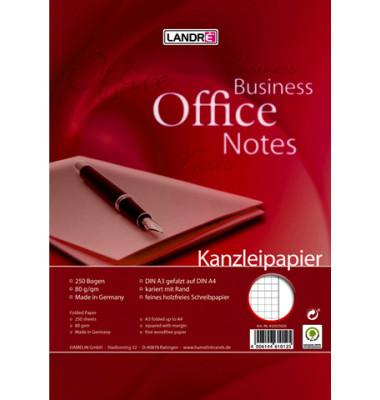 Kanzleipapier OFFICE A3 auf A4 gefalzt kariert mit Rand weiß 250 Blatt