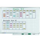 Raster-Whiteboard Professional 120 x 90cm emailliert Aluminiumrahmen Raster 10x10mm
