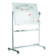 Whiteboard Professional Mobil 200 x 100cm emailliert Aluminiumrahmen drehbar beidseitig