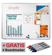 Whiteboard Premium Plus 150 x 100cm emailliert Aluminiumrahmen