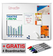 Whiteboard Premium Plus 200 x 100 cm emailliert Aluminiumrahmen