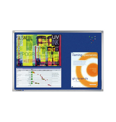Pinnwand PROFESSIONAL 7-140574, 180x120cm, Textil, Aluminiumrahmen, blau