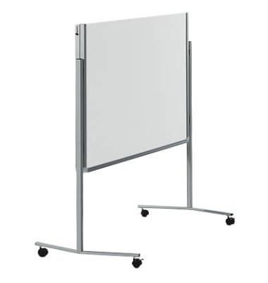 Moderationstafel Premium 7-205000, 120x150cm, Karton + Karton (beidseitig), pinnbar, klappbar, mit Rollen, weiß + weiß