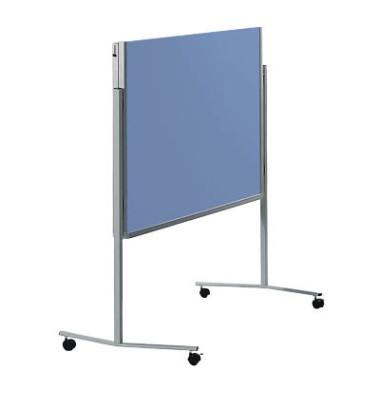 Moderationstafel Premium 7-205200, 120x150cm, Filz + Filz (beidseitig), pinnbar, klappbar, mit Rollen, blaugrau + blaugrau
