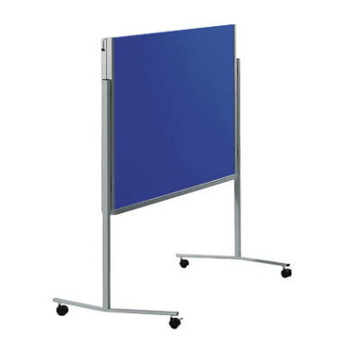 Moderationstafel Premium 7-205400, 120x150cm, Filz + Filz (beidseitig), pinnbar, klappbar, mit Rollen, marineblau + marieneblau