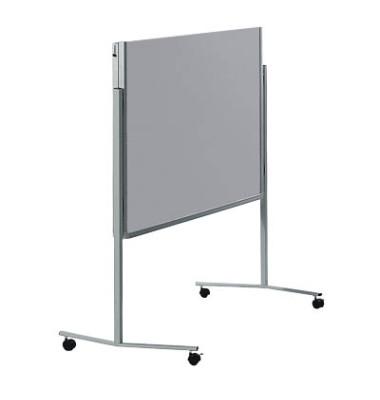 Moderationstafel Premium 7-205500, 120x150cm, Filz + Filz (beidseitig), pinnbar, klappbar, mit Rollen, grau + grau