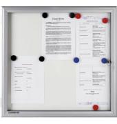 Schaukasten Premium 18 x A4 Metallrückwand weiß, silber magnetisch