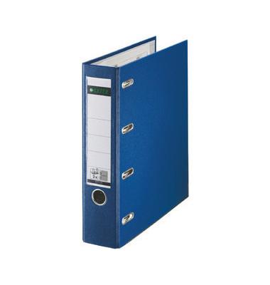 Doppelordner 1012 2x A5-quer blau 75mm 2x 2-Ringmechanik PP-kaschiert  mit Griffloch