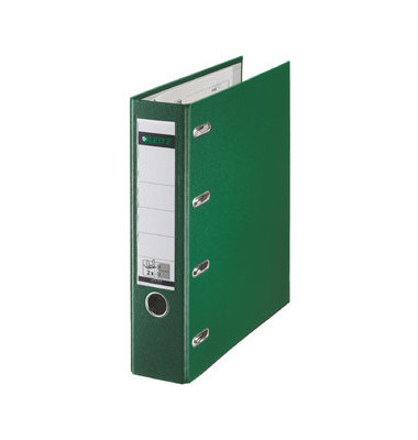 Doppelordner 1012 2x A5-quer grün 75mm 2x 2-Ringmechanik PP-kaschiert  mit Griffloch