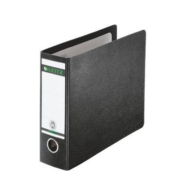 Ordner 1071 1/6-DIN 77mm schwarz Recycling mit Griffloch