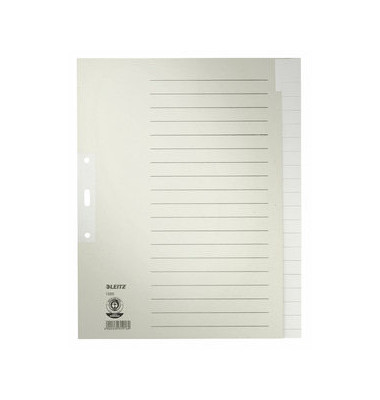 Kartonregister 1220 blanko A4+ 100g graue Taben 20-teilig