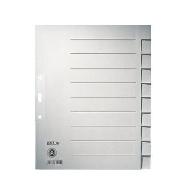 Kartonregister 1221 blanko A4+ 100g graue Taben 10-teilig