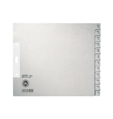 Kartonregister 1230-00-85 Dezember-Januar A4+ halbe Höhe 100g graue Taben 12-teilig