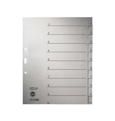 Kartonregister 1232-00-85 1-10 A4+ 100g graue Taben 10-teilig