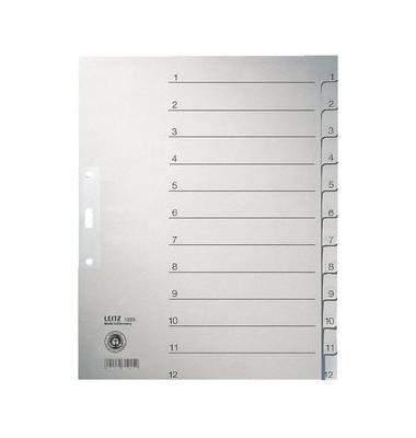 Kartonregister 1233 1-12 A4+ 100g graue Taben 12-teilig