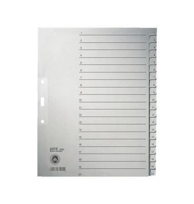 Kartonregister 1234-00-85 1-20 A4+ 100g graue Taben 20-teilig
