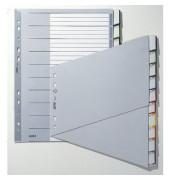 Kunststoffregister 1270-00-00 blanko A4 schräg 0,12mm farbige Fenstertabe zum wechseln 10-teilig