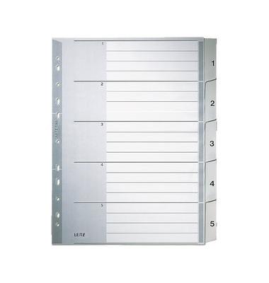 Kunststoffregister 1283-00-85 1-5 A4+ 0,12mm graue Taben 5-teilig