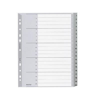 Register 1284 1-20 A4+ 0,12mm graue Taben 20-teilig