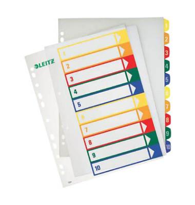 Kunststoffregister 1293-00-00 1-10 A4+ 0,3mm farbige Taben 10-teilig