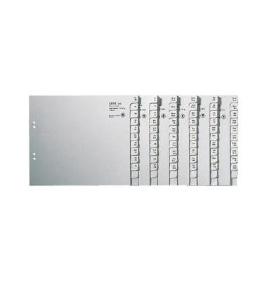 Kartonregister 1350-00-85 A-Z A4 halbe Höhe 100g graue Taben für 50 Ordner 20-teilig