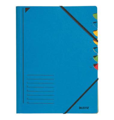 Ordnungsmappe m.Greifausschn. blau A4 7-tlg. Color