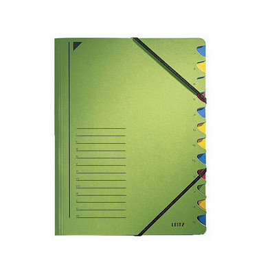 Ordnungsmappe m.Greifausschn. grün A4 12-tlg. Color