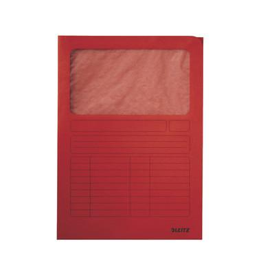 Sichtmappe A4 rot 140g mit Sichtfenster 100 Stück