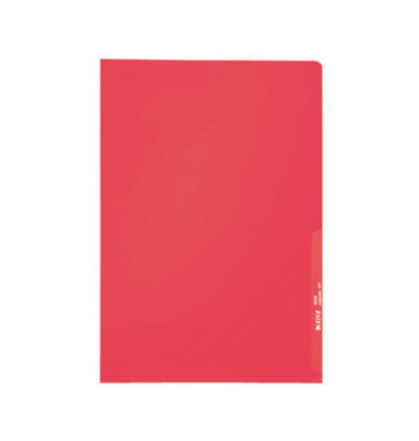 Sichthüllen 4000-00-25, A4, rot, transparent, genarbt, 0,13mm, oben & rechts offen, PP