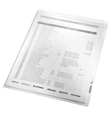 Sichthüllen 4020-00-03, A4, farblos, klar-transparent, glatt, 0,16mm, oben & rechts offen, PP-Hartfolie