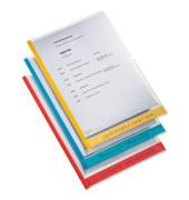 Sichthüllen DeskFree 40803000, A4, farbig sortiert, klar-transparent, glatt, 0,15mm, oben & rechts offen, PP, mit farbigem Rand