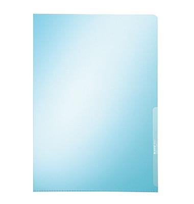 Sichthüllen 4100-00-35, A4, blau, klar-transparent, glatt, 0,15mm, oben & rechts offen, PVC