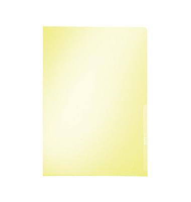 Sichthüllen Premium 4100-00-15, A4, gelb, klar-transparent, glatt, 0,15mm, oben & rechts offen, PVC