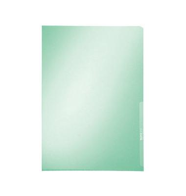 Sichthüllen Premium 4100-00-55, A4, grün, klar-transparent, glatt, 0,15mm, oben & rechts offen, PVC