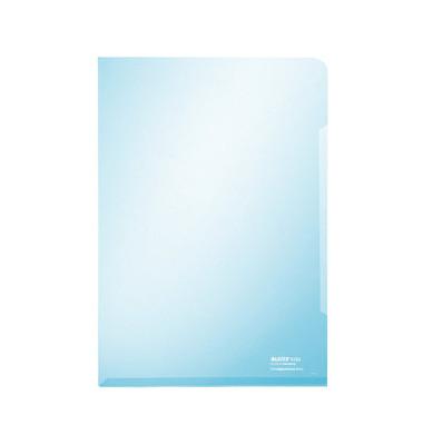 Sichthüllen Super Premium 4153-00-35, A4, blau, klar-transparent, glatt, 0,15mm, oben & rechts offen, PVC