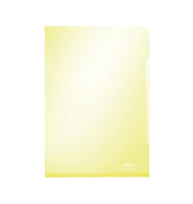 Sichthüllen Super Premium 4153-00-15, A4, gelb, klar-transparent, glatt, 0,15mm, oben & rechts offen, PVC-Hartfolie
