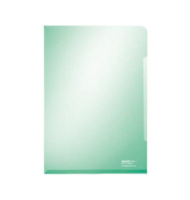 Sichthüllen Super Premium 4153-00-55, A4, grün, klar-transparent, glatt, 0,15mm, oben & rechts offen, PVC-Hartfolie